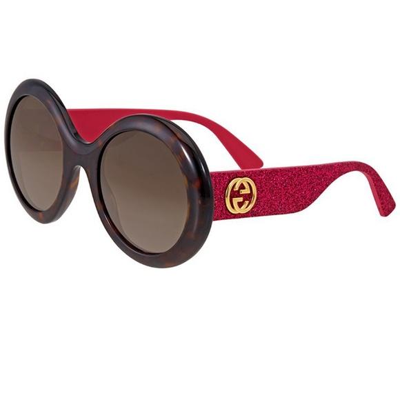 585c83126ce Gucci Sunglasses Pink Glitter Arms Havana